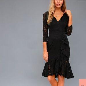 Lulus Black lace midi dress